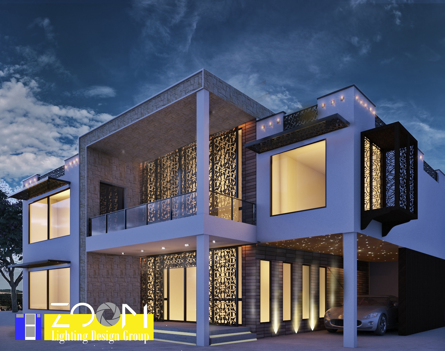 Architectural lighting design of villa